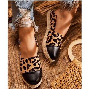 Shoes - Leopard Espadrille Trim Dressy Slip On